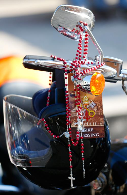 Rosaries adorn one of the bikes.