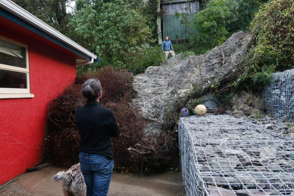 Neighbours Christine Handley and Sam Dillon speak to each other across a slip between their properties in Nelson.