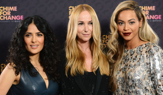 POWER BROKERS: Actress Salma Hayek, Gucci creative director Frida Giannini and singer Beyonce at the Chime For Change concert in London last week.