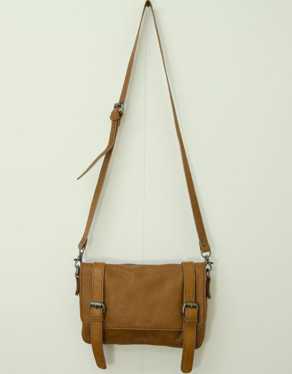 Whisky double buckle leather bag