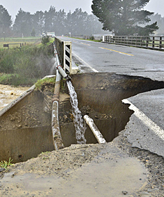 BIG DELUGE: A chunk of the Makerikeri Bridge has washed out after constant rain damaged the bridge near Loburn.