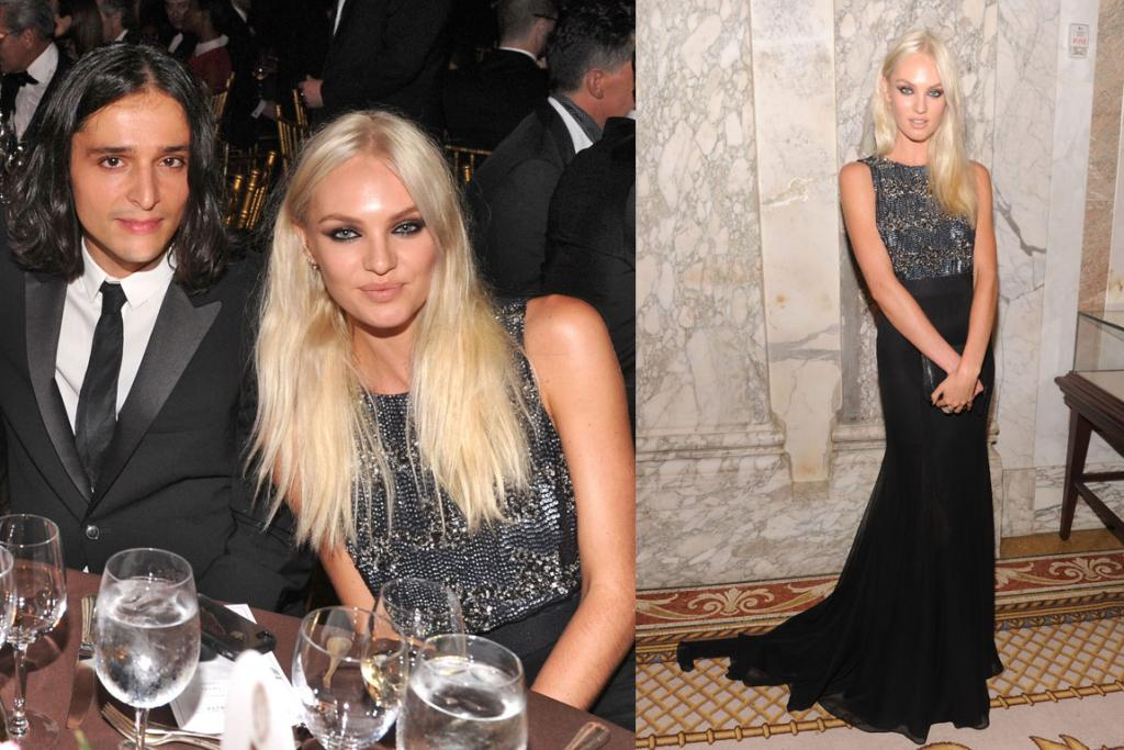 GOOD DRESS, BAD HAIR: South African supermodel Candice Swanepoel (aka, the woman whose surname I have to google to check for spelling every time) opted for a Theyskens' Theory gown, in fact that's Oliver Theyskens himself sitting with her at dinner. The gown is elegant and the detailing is gorgeous, but her newly-dyed platinum blonde hair? It looks like straw.