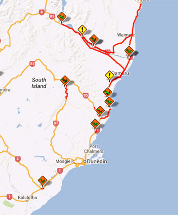 Markers indicate hazards on Otago and Canterbury state highways.