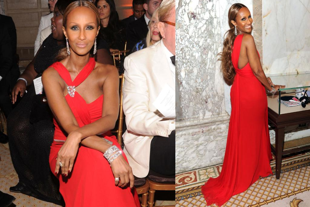 THE GOOD: Iman, 57, looks truly stunning in this orange-red archival Valentino gown. 57. I'm in awe.
