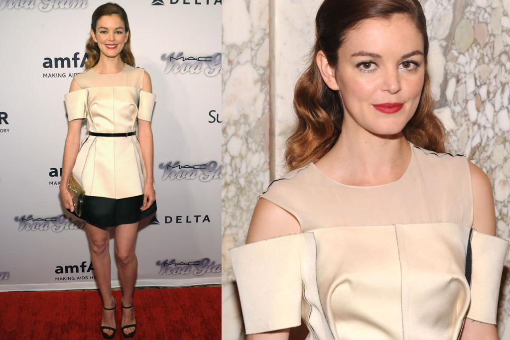 THE NOT QUITE: Gorgeous Grey's Anatomy star Nora Zehetner opted for a cold-shouldered Calvin Klein mini, which I can't help but think would have just looked better sans the arm slots that look like neoprene beer can holders.