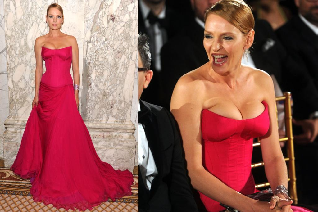 THE GOOD: Three-quarters of Uma Thurman looks beyond amazing in this Atelier Versace gown - although I do have a problem with the levels of boob-squish (particularly when she's seated) mostly because it just doesn't look comfortable.