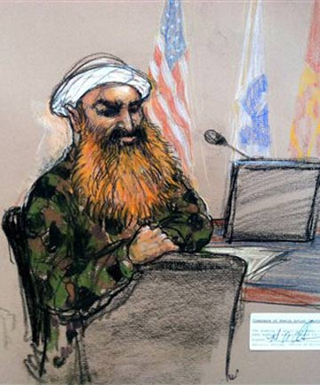 A sketch of self-proclaimed terrorist mastermind Khalid Sheikh Mohammed, wearing a camouflage jacket and white turban, made  during a break in the pretrial hearings at the Guantanamo Bay US Naval Base in Cuba.