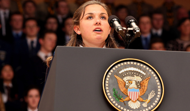 PEACE PLEA: Hannah Nelson speaks before US President Barack Obama's speech at the Waterfront Hall in Belfast.