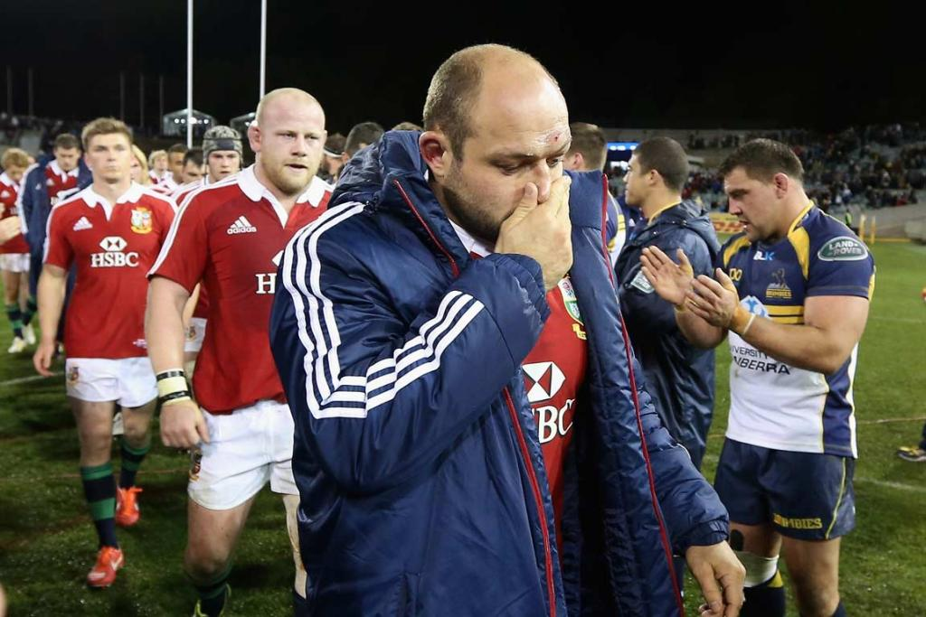 Match captain Rory Best lead the dejected British & Irish Lions off the field.