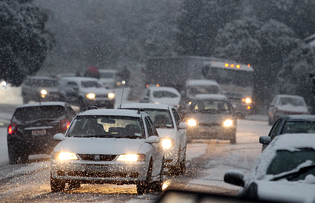 Traffic in Christchurch snow