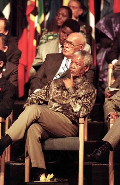 President Nelson Mandela at the opening of the CHOGUM conference in Auckland in 1995.