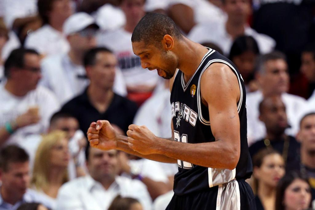 A pumped up Tim Duncan reacts during Game 6.