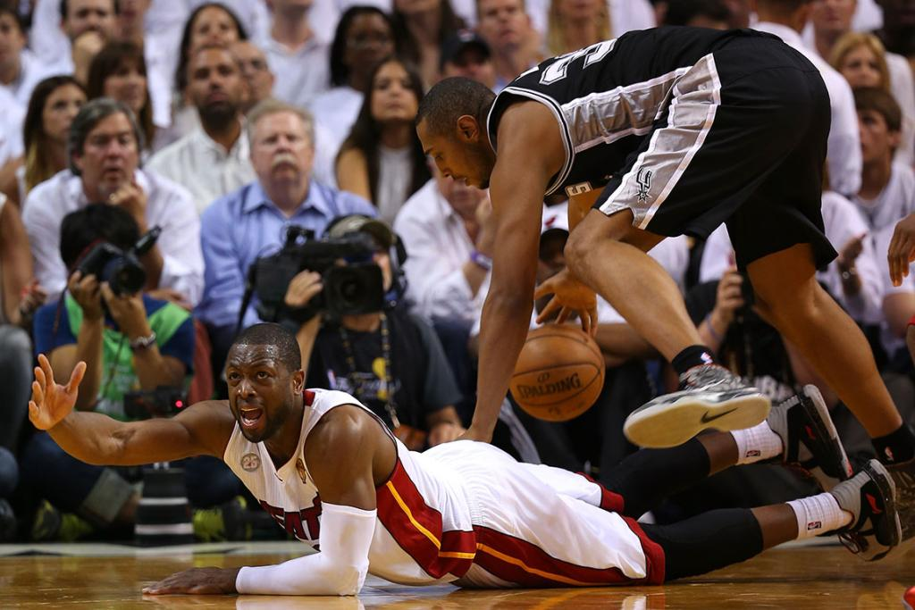 Dwyane Wade appeals for a foul.
