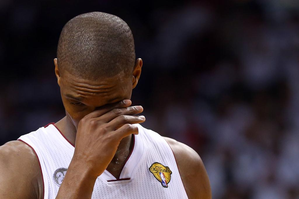 The Heat's Chris Bosh reacts to a call in the first half of Game 6.