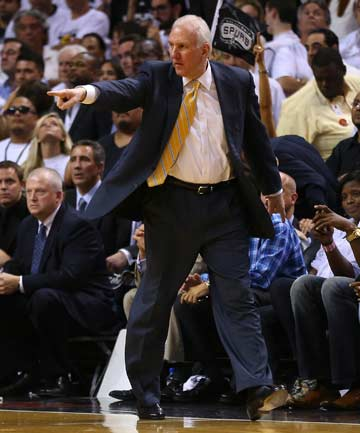 UNDER SCRUTINY: San Antonio Spurs coach Gregg Popovich made some questionable decisions late in Game 6 of the NBA Finals, an overtime loss.