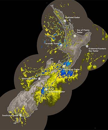 COLD SNAP: A MetService rain radar image taken at 6.50am.