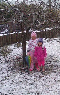 PLAYTIME: Chloe, 7, and Zara, 4, enjoy the snowfall in Springfield.