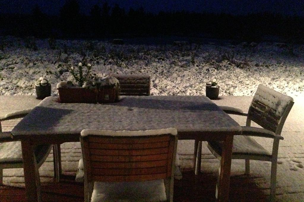 WINTER WONDERLAND: Erin Morrison's deck in Summerhill, Cust, is covered in snow.