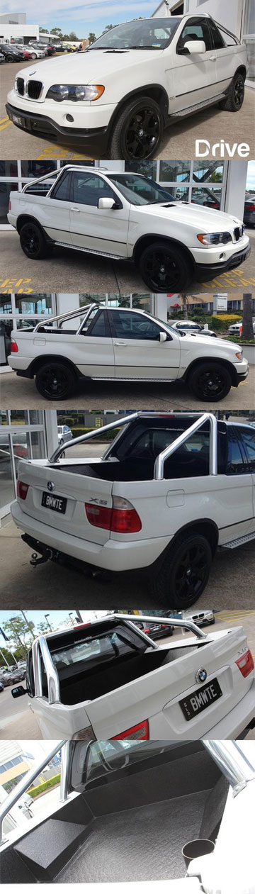 A combination of photographs showing the BMW X5 SUV that has been altered into a utility vehicle.