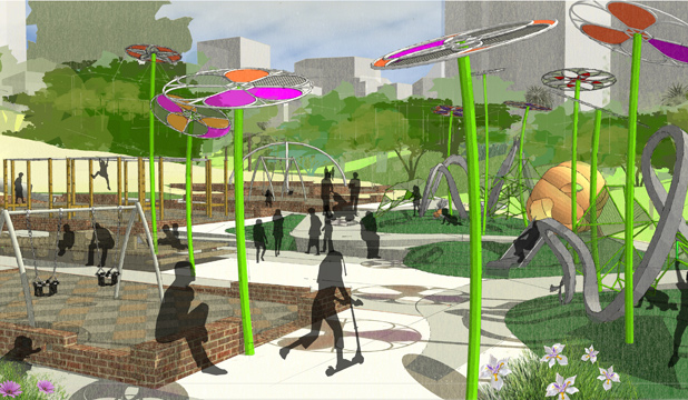 CHILD-FRIENDLY PARK: An artist's impression of the proposed new playground area.