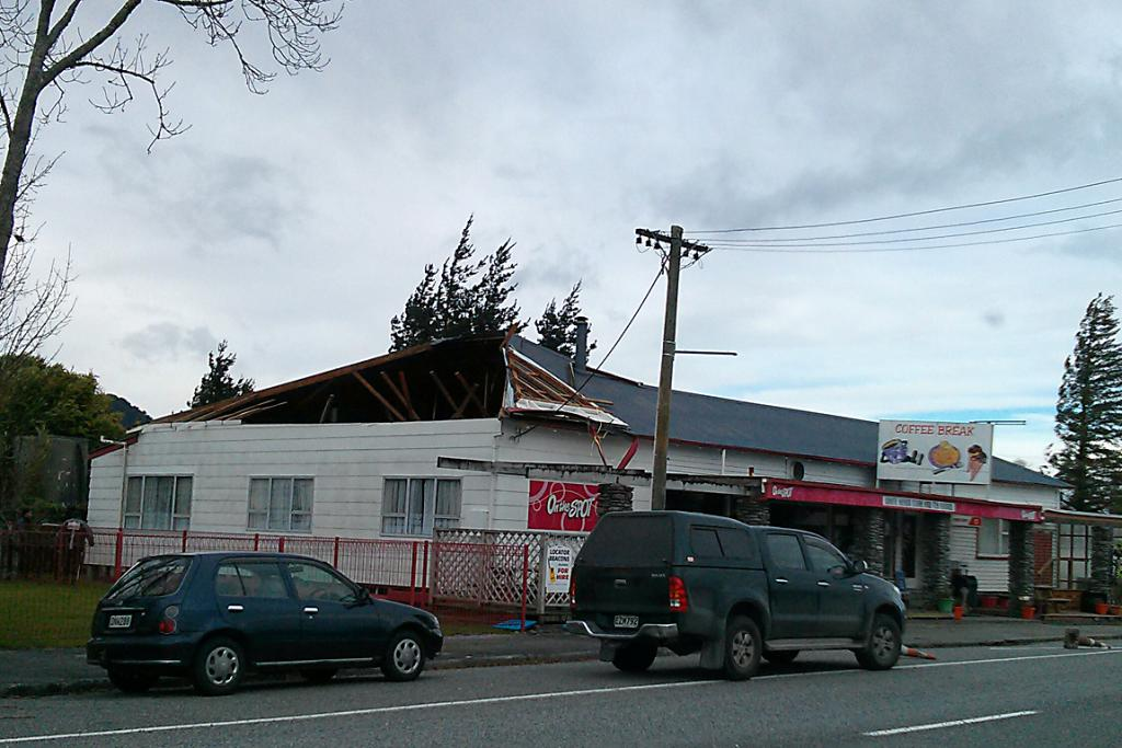 WILD WEATHER: The West Coast has not missed the bad weather, with winds ripping off the roof off the Whataroa general store, in South Westland.