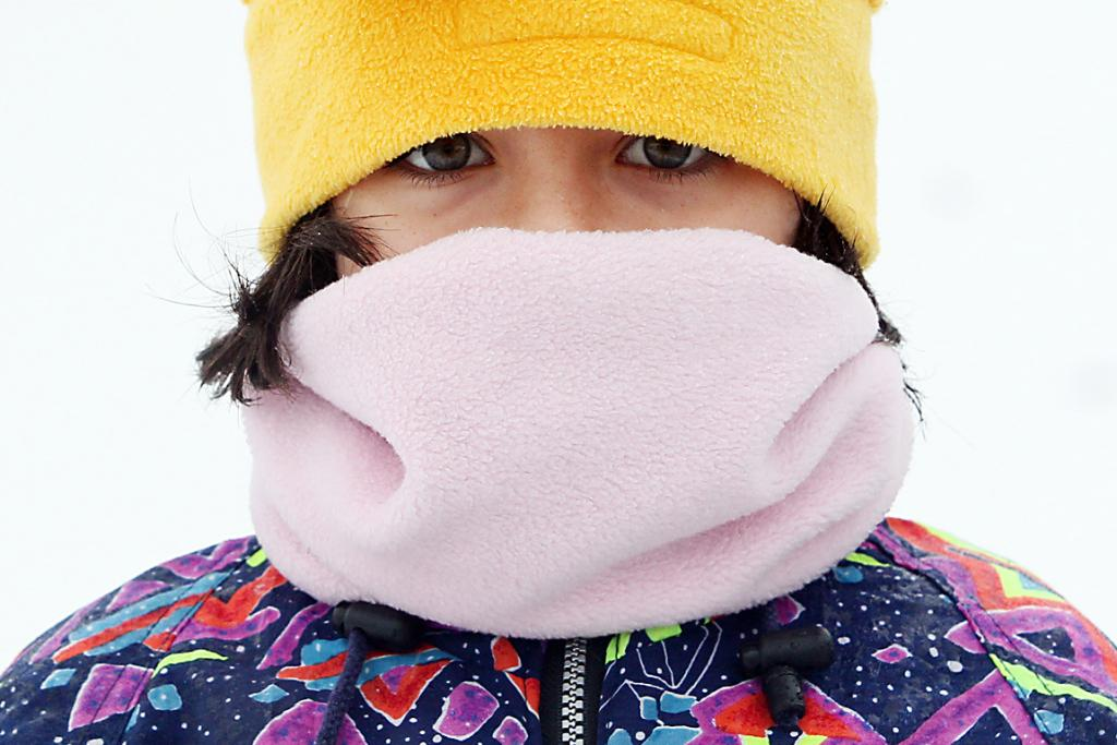 COLD BLAST: Georgia Gerard, 8, from Methven wraps up warm against the elements today.