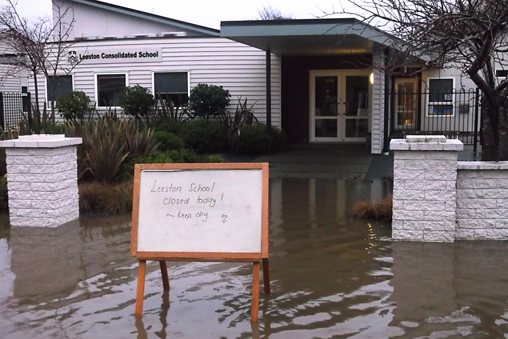 STAY HOME: Leeston Consolidated School has been closed due to flooding.