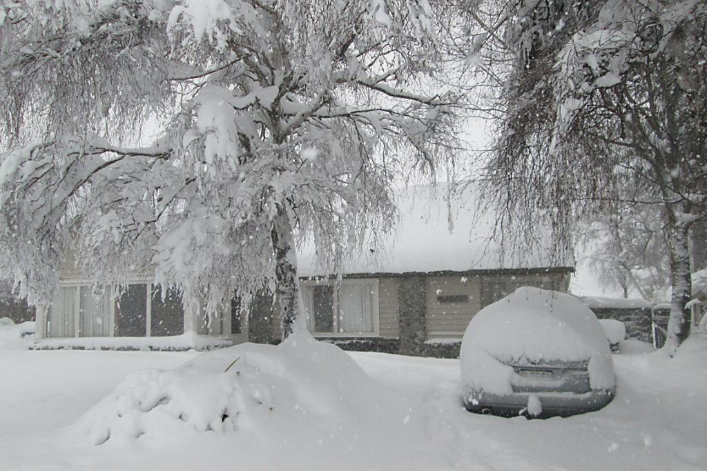 STILL FALLING: Delwyn O'Connor says Tekapo has received 60cm of snow and it is still snowing heavily.