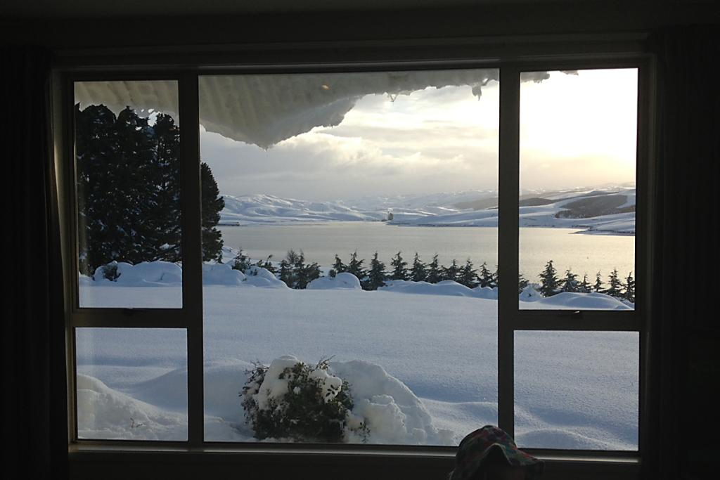 PICTURESQUE: The view at Waipori Station on Lake Mahinerangi in Otago this afternoon. Station staff have been attempting to clear roads with tractors so they can feed stock.