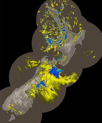 SNOW, RAIN: A MetService rain radar image from 1.50pm.