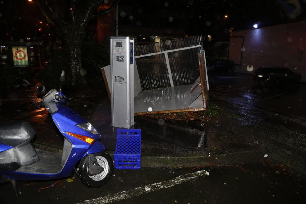 Damage to a parking ticket machine shelter on Victoria St.