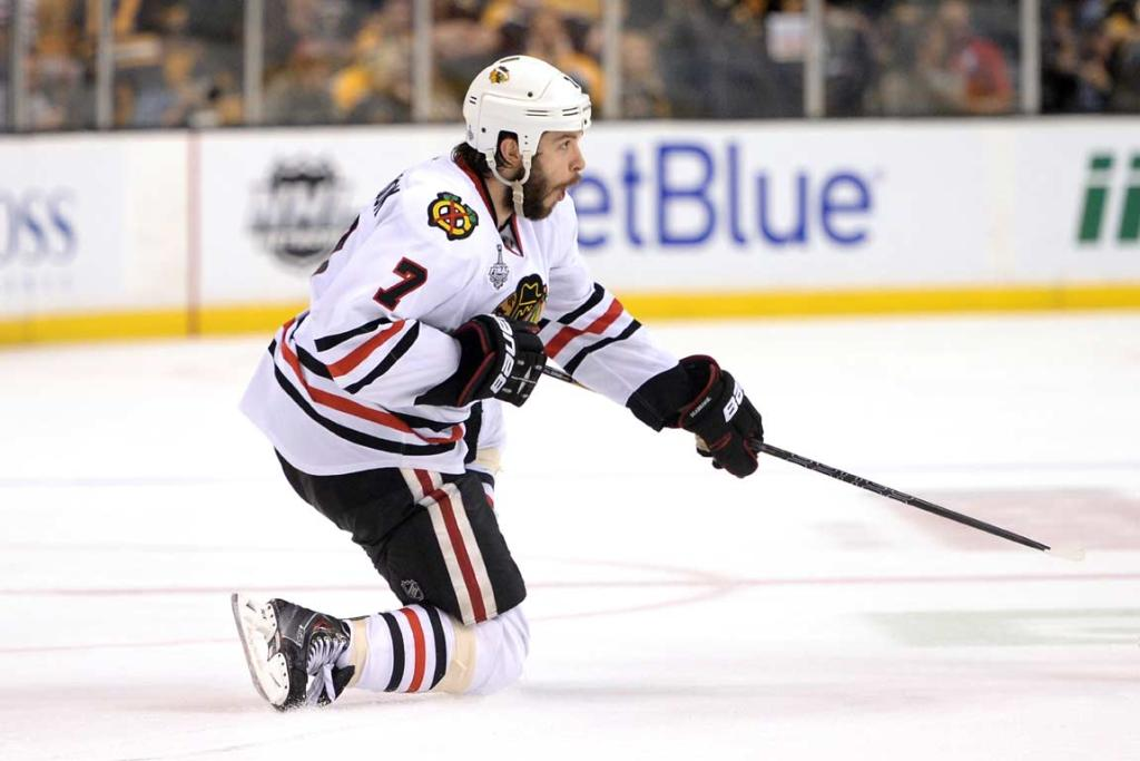 Chicago Blackhawks' Brent Seabrook celebrates his overtime game-winning goal in Game 4 of the Stanley Cup Finals.