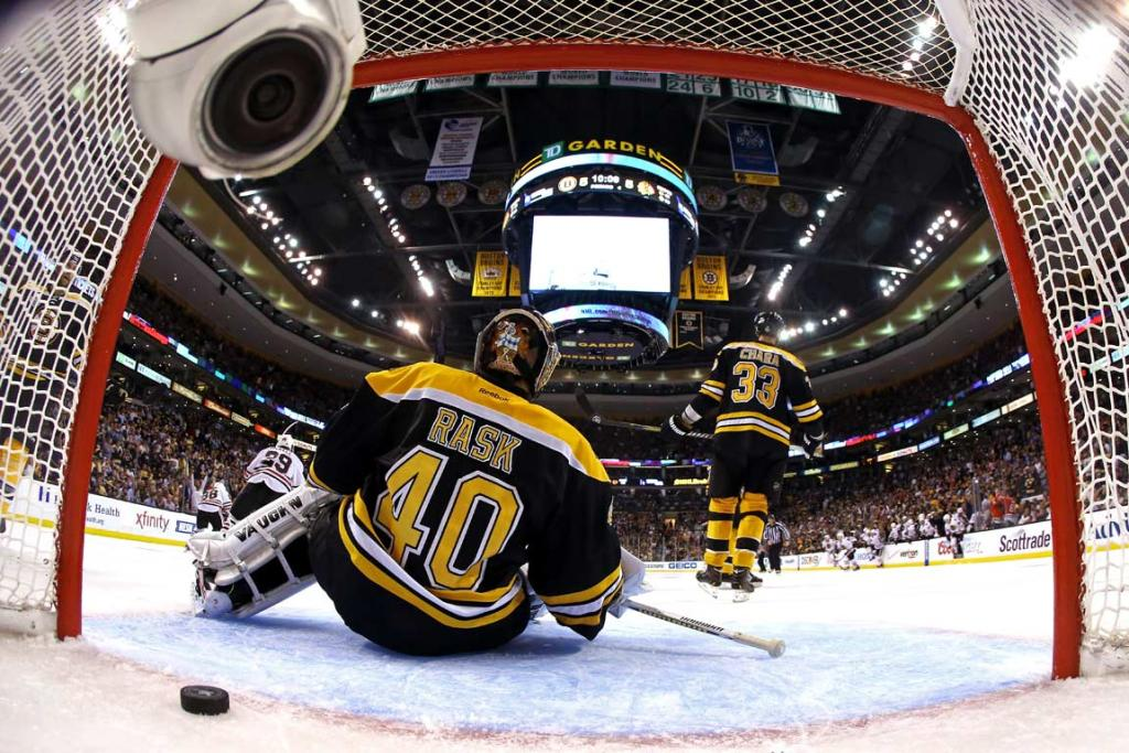 Bruins netminder Tukka Rask gets beaten for a goal in the second period of Game 4.