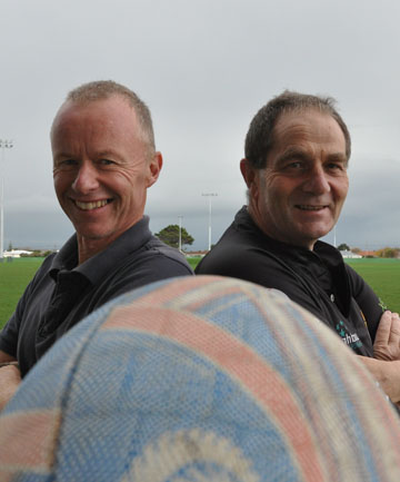 READY TO RUMBLE: South Taranaki Mayor Ross Dunlop, left, and Whanganui MP Chester Burrows will go head to head in a charity rugby match.
