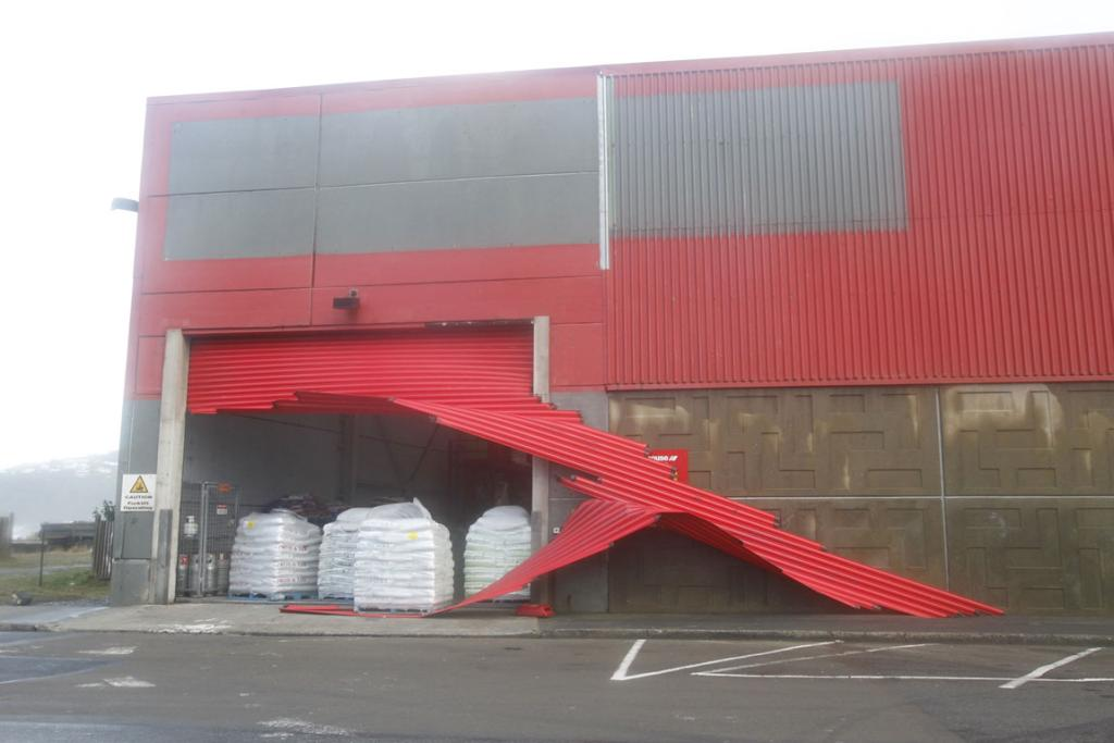 Damage to the Warehouse in Lyall Bay.