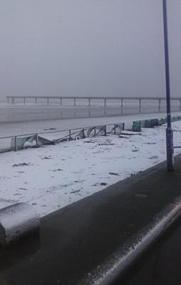 TOO COLD TO SWIM: New Brighton Beach is covered in snow.