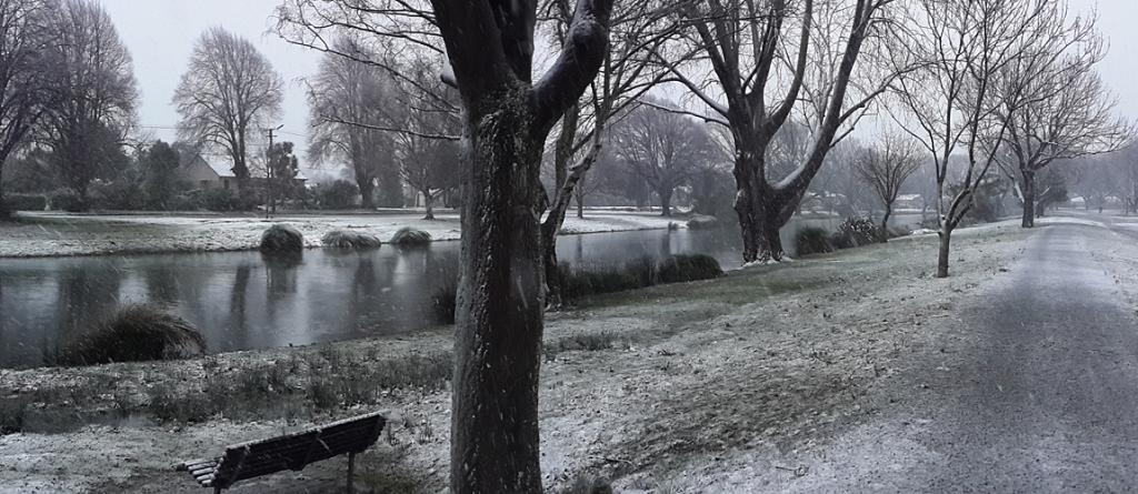 SNOWY RIVER: Snow is scattered around Avonside about 8am.