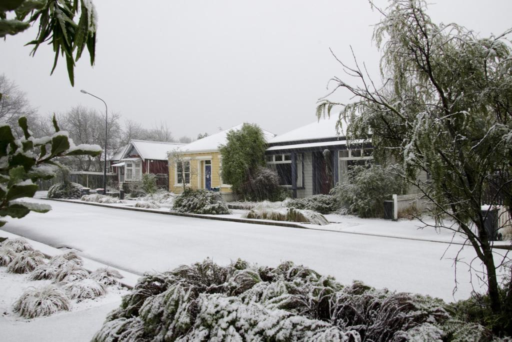 WINTER'S ARRIVED: Snow in Rees St.