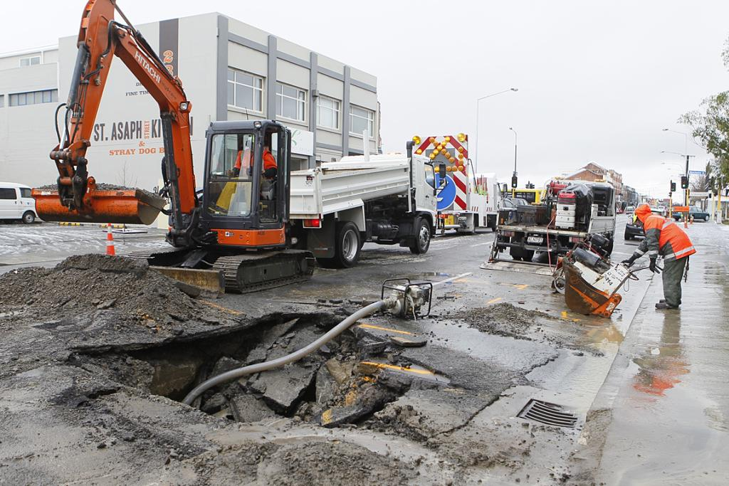 FLOODING: The road collapsed in St Asaph St after a water main burst.