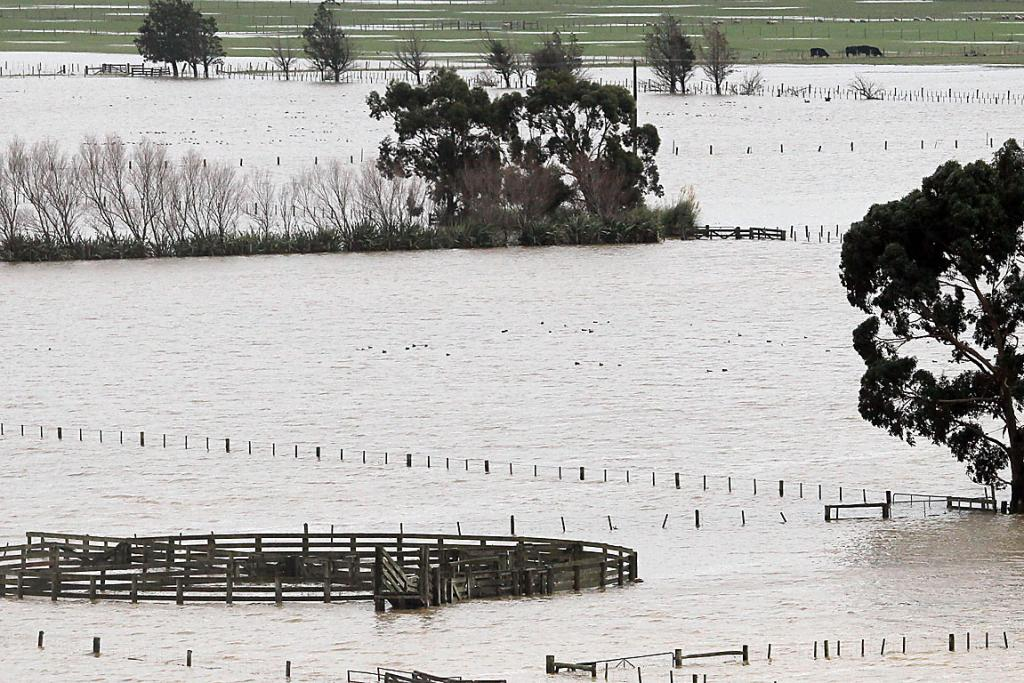 Tai Tapu farmland under water