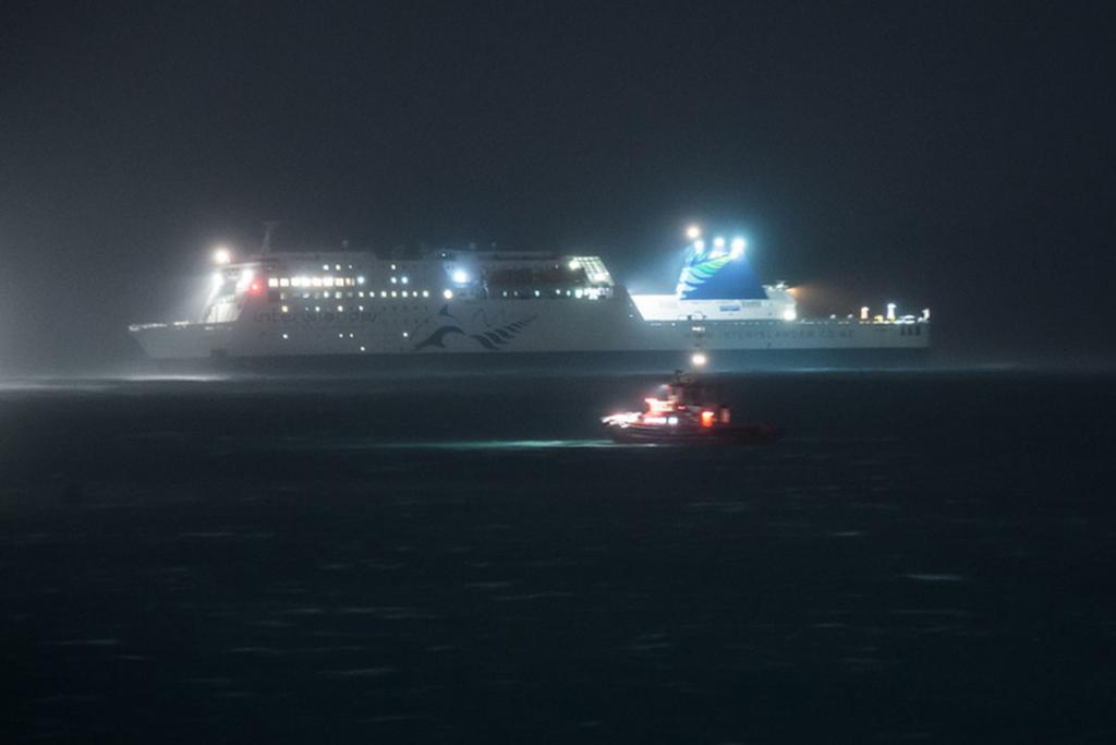 The Interislander ferry at anchor in Wellington harbour after its moorings broke in the night.