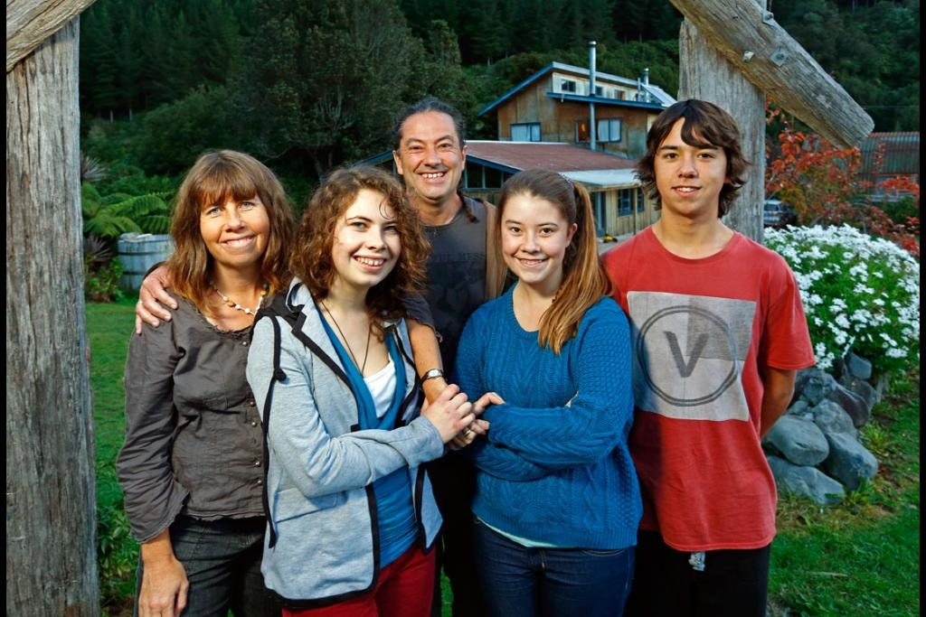 Justin with his family from Left, wife Jenny, Luca, Maya, and Jesse at the Ngatiawa River Monastery on the Kapiti Coast.