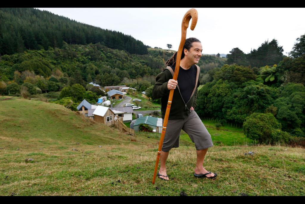 Justin at the Ngatiawa River Monastery on the Kapiti Coast with his Crozier.