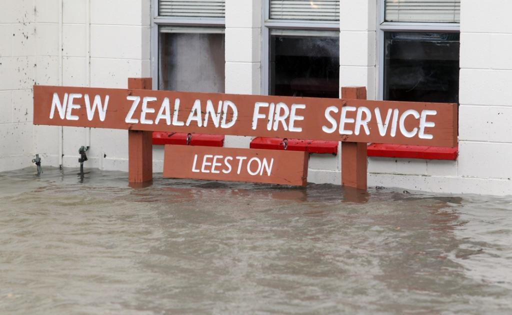 The Leeston Fire Station is flooded, but still operating.
