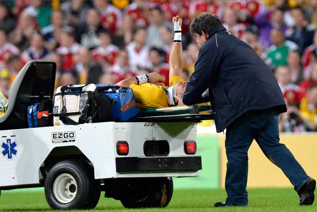 Christian Lealiifano is stretchered off in the opening minutes of the first test.