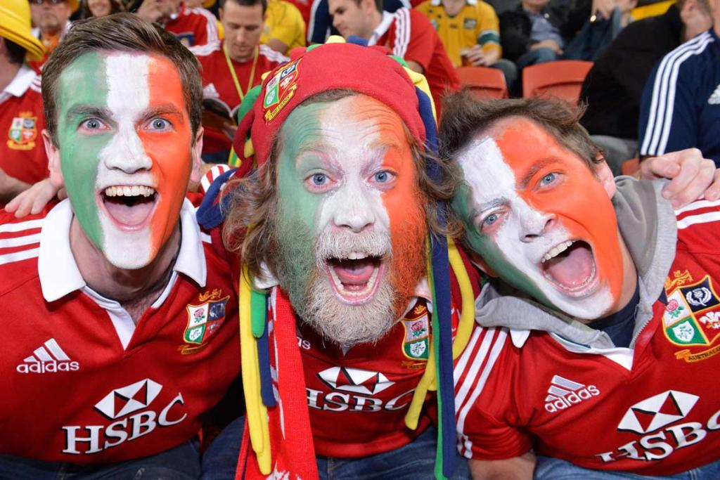A trio of Irish Lions fans at Suncorp Stadium.