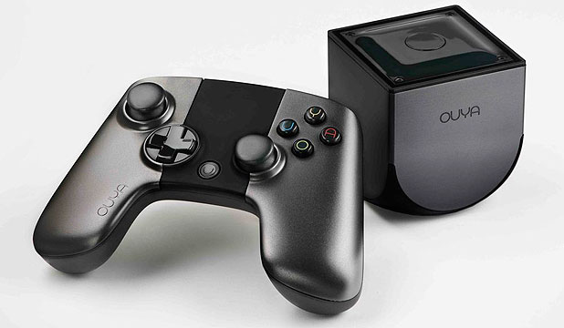 NEW PLAYER: The Android-powered, super cheap Ouya game console and controller.