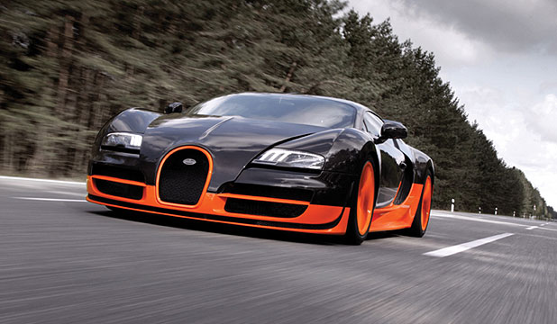 The Bugatti Veyron Super Sport which set the world record for the fastest production car.