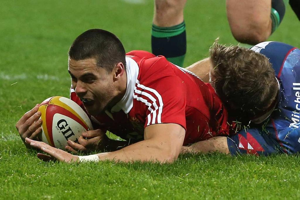 Kiwi-born Scottish international Sean Maitland goes over for one of the British & Irish Lions five tries in their 35-0 rout of the Melbourne Rebels.