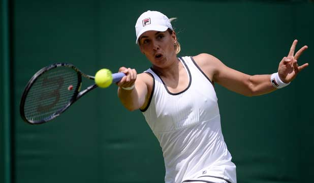 GETTING THROUGH: Marina Erakovic hit 12 aces and 40 winners as she got past Japan's Ayumi Morita in the first round at Wimbledon.